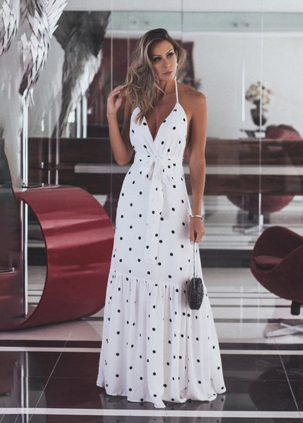 Dot Printed With V-neck Long Dress
