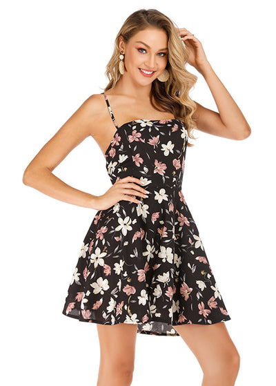 Floral Printed With Back Cross Dress