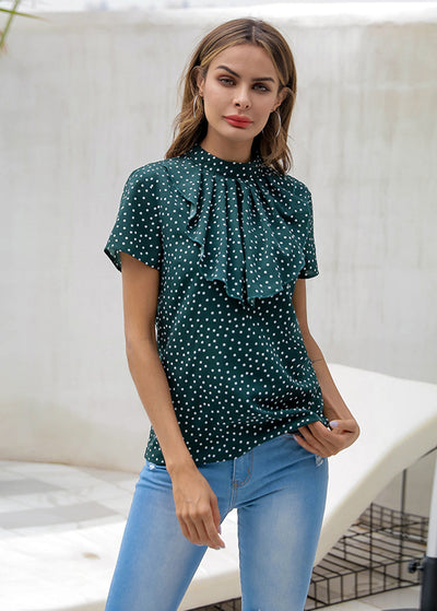 Dot Printed With Back Button Tops