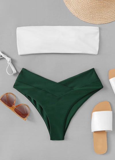 Two Tone Top With High Leg Bikini Set