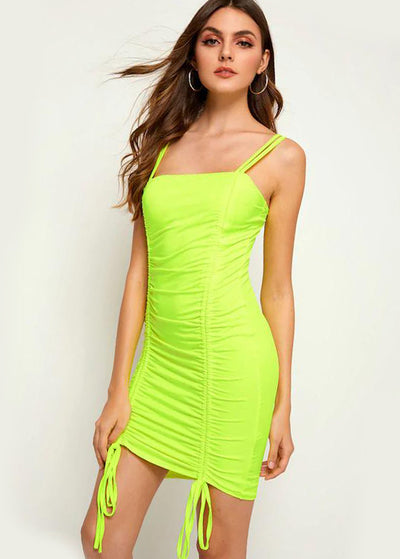 Neon Yellow Drawstring Pleated Sling Dress