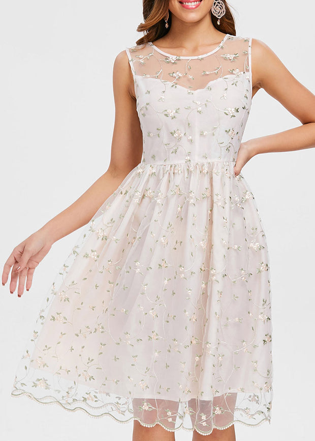 Floral Lace See-through Vintage Dress