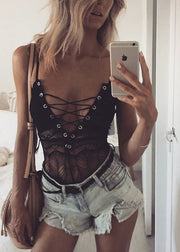Crossed Bandage Lace Garment Bodysuit