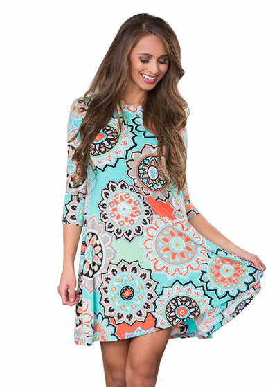 Bohemian Scoop Neck Mini Dress