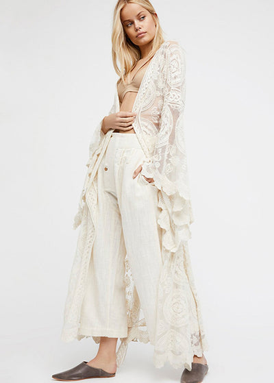 Solid Color Lace Long Sleeve Cardigan