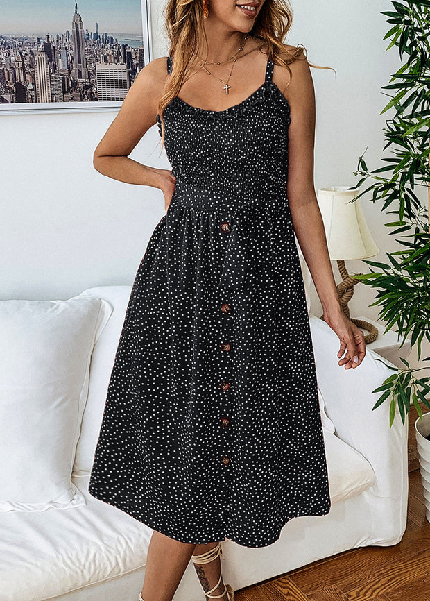 Printed Wavy-dot Lotus-leaf Lace Button Dress
