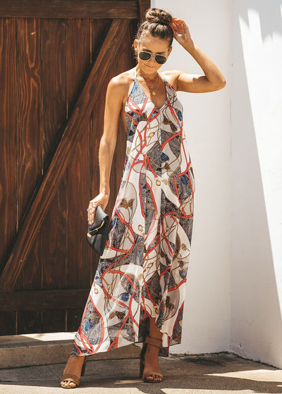 Front Button Printed Long Dress