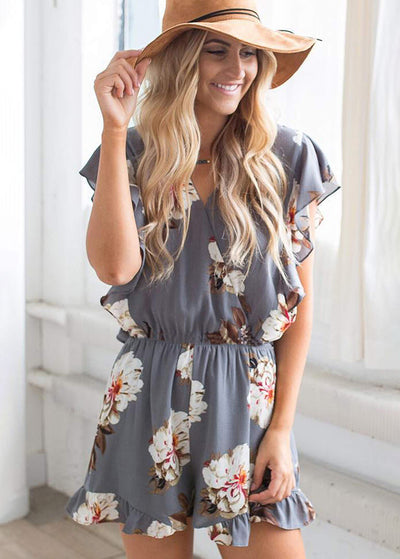 Floral Printed With Front Cross Jumpsuits