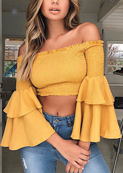 Loose Horn-sleeve Shoulder Top