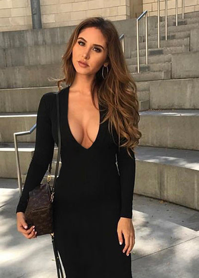 Back Bandage Long Sleeve Slim Club Dress