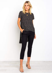 Dot Printed Irregular Hem Tops