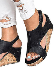 Slope Heel Fishmouth Sandals