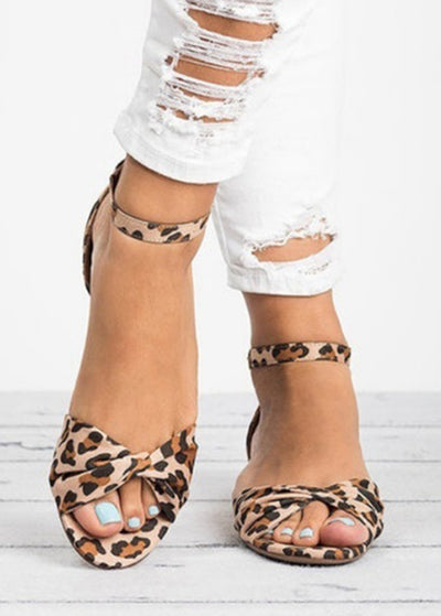 Leopard-print Toe-exposed Heel Sandals