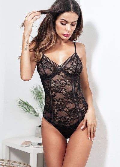 Strapping V Neck Lace Teddy Bodysuit