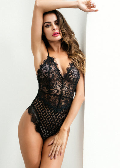 Strappy Design V Neck Lace Teddy