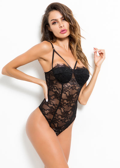 Strappy Design See Through Lace Teddy