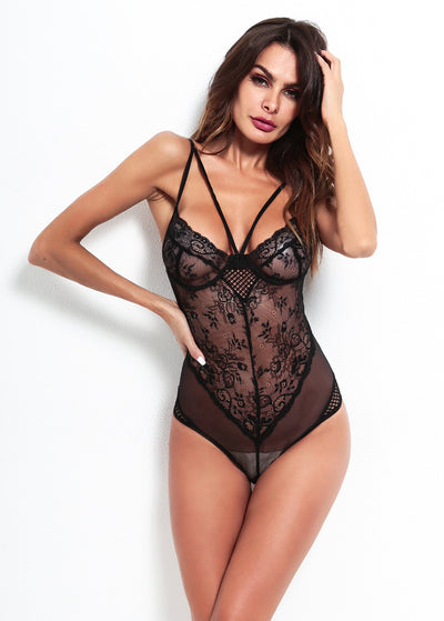 Lace & Mesh Deep V See Through Teddy
