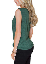 Sleeveless T-shirt with V-collar