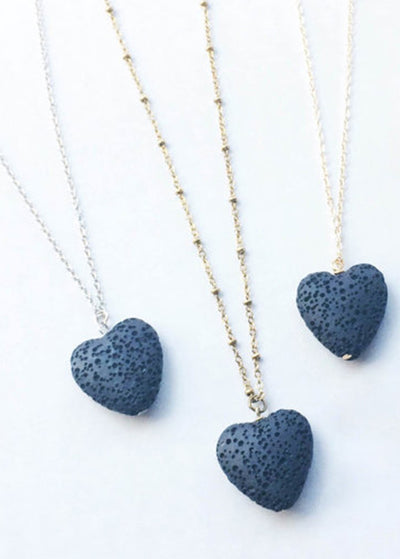 Blue Peach Heart Volcanic Stone Necklace