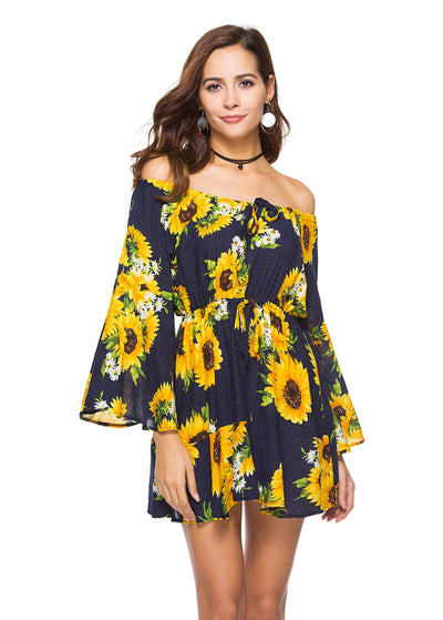 Sunflower Print One Shoulder Lace-up Dress