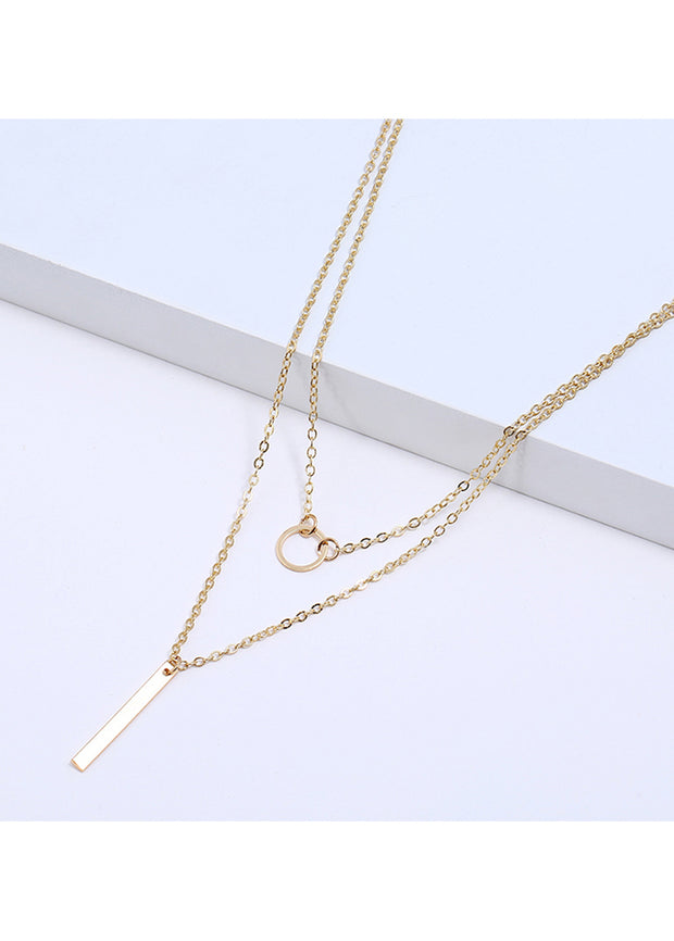 Circle-Vertical Double Necklace