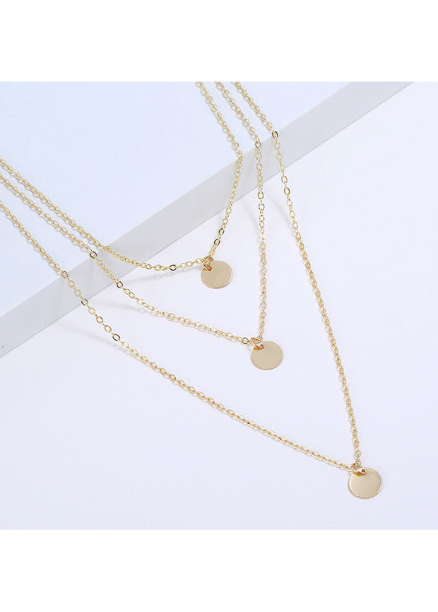 Multi-layer Metal Wafer Necklace