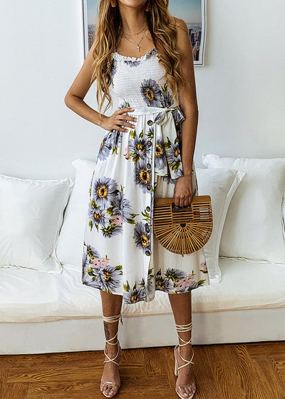 Printed Lace-up With Lotus Leaf Edge Button Dress
