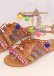 Hairy Ball Flat-soled Sandals