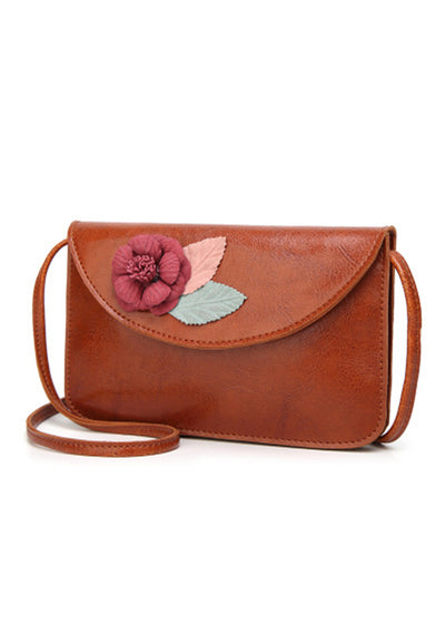 Flower Decoration Inclined Shoulder Bag