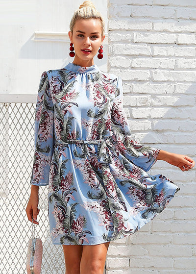 Horn Sleeve Printed Backless Dress
