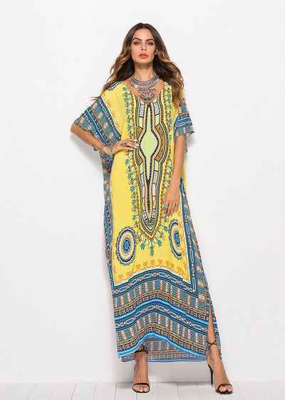 Yellow Bohemian Print Kaftans Maxi Dress