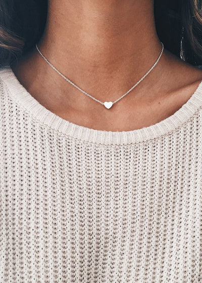 Alloy Peach Heart Simple Clavicle Necklace