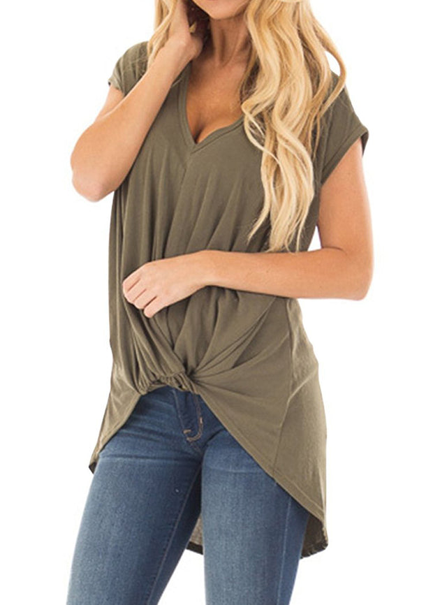 Plain V Neck Short Sleeves T-shirts