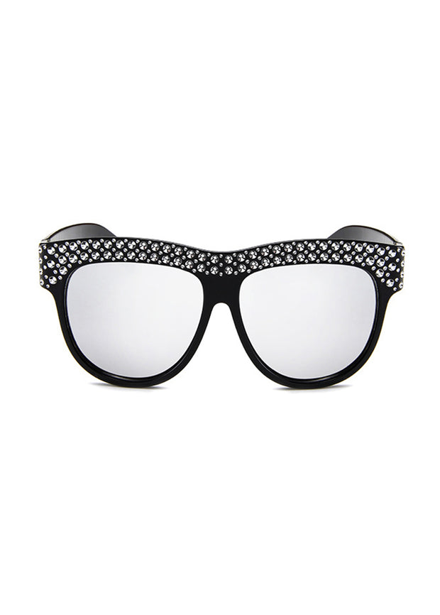 Diamond-inlaid Large-frame Sunglasses