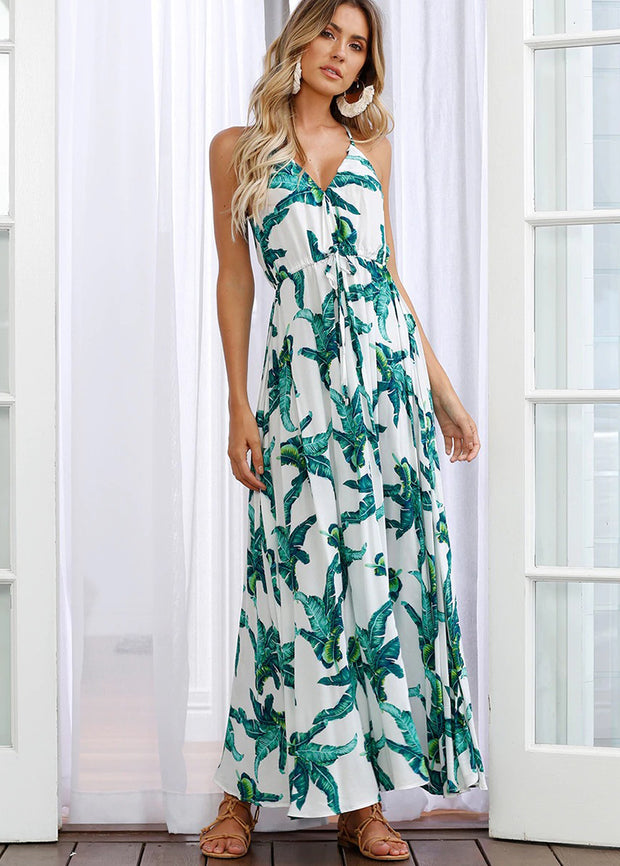 Leaf Printed Plunging Maxi Dress