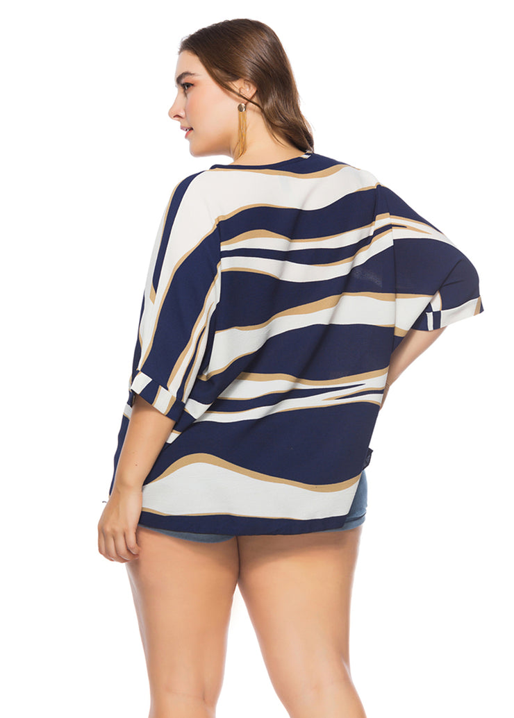 Plus Stripe Printed Loose Blouses-Navy