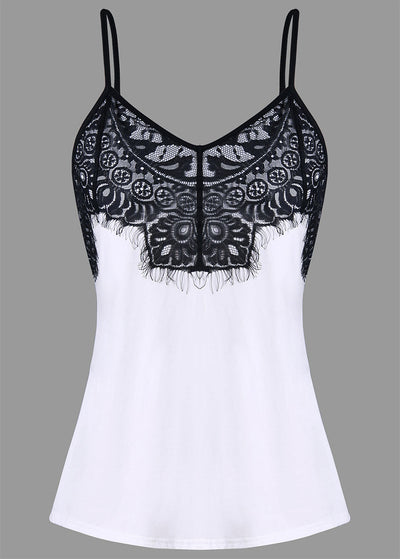 Eyelash Lace Splice Sling Top