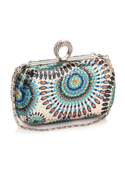 Sequined Hard-shell Handbag