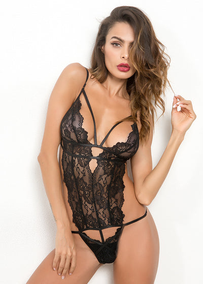 Lace Sexy Deep V Backless Teddy