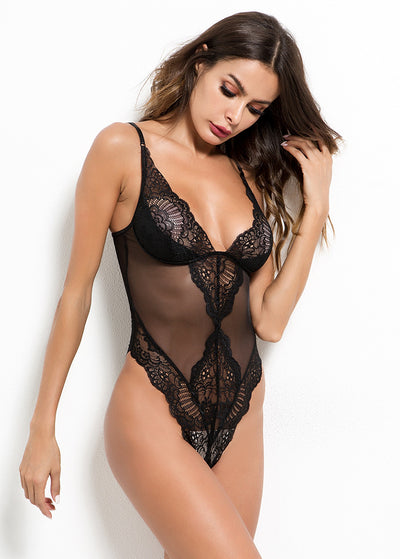 Strappy Design V Neck Lace & Mesh Teddy