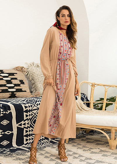 Ethic Print Long Sleeve Maxi Dress