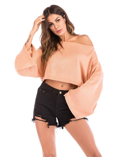 Solid Color Strapless Bat Sleeve Sweater