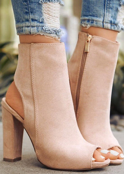 Open-toe Side Zipper High-heels
