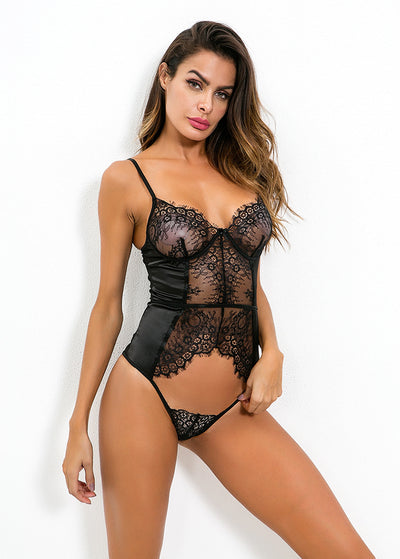 Eyelash Lace V Neck Cut Out Teddy