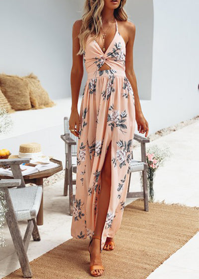 Suspended V-neck Printed Split Dress