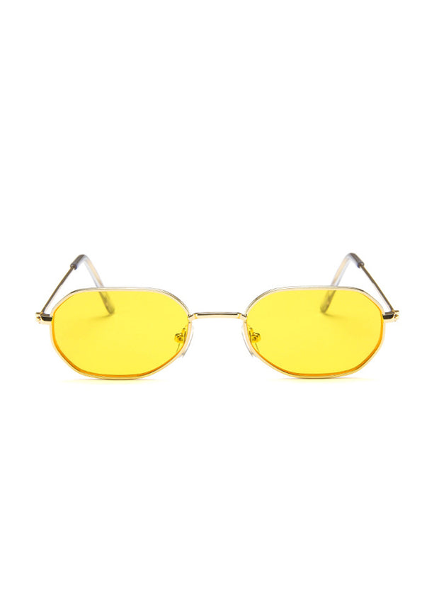 Retro Narrow Oval Metal Sunglasses