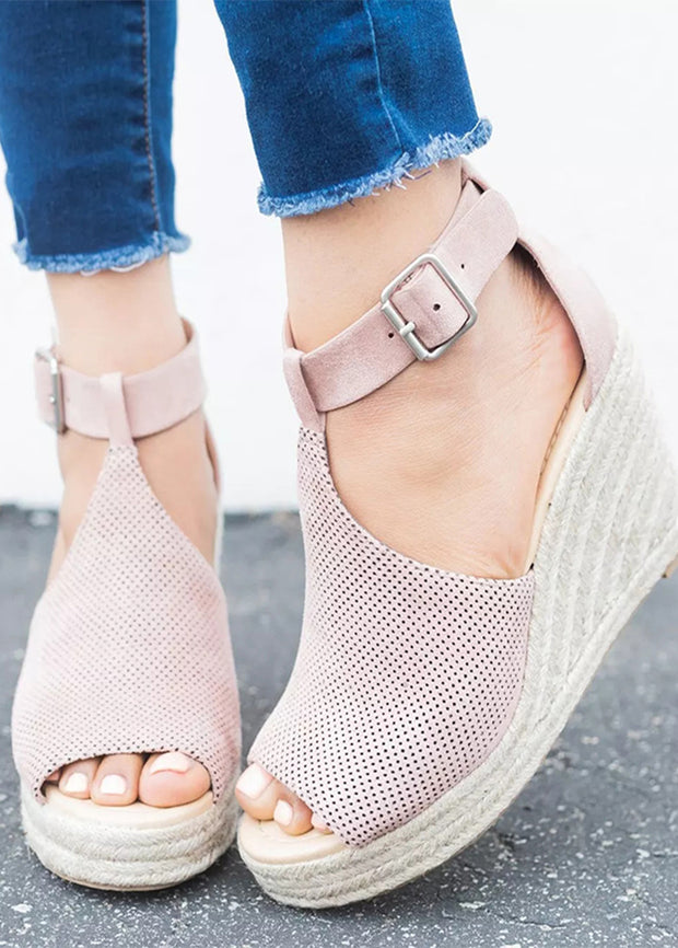 Straw-knitted Hemp Rope Heel Sandals
