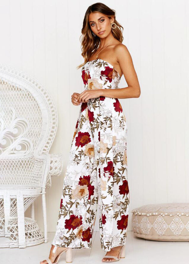 Floral Printed Strapless Jumpsuits