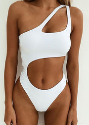 Monochrome One-shoulder One-piece Swimsuit