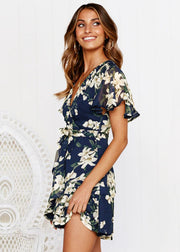 Short-sleeved Deep-v Print Dress